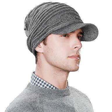 7d17ac0b473 Amazon.com  Jeff   Aimy 37% Wool Knit Visor Beanie Mens Winter Hat Brim  Cuff Newsboy Jeep Cap Cold Weather Hat 2-Layer Grey  Clothing