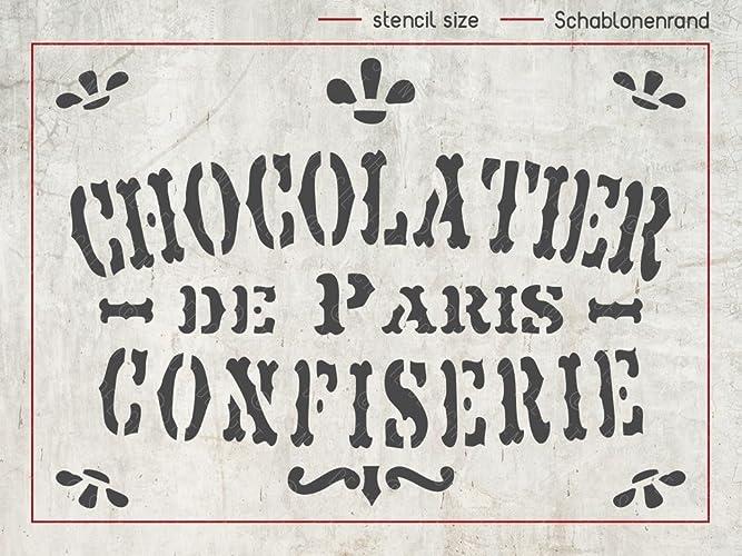 Schablone Chocolatier De Paris   Deko Stencil   Shabby Chic Deko    Französisches Vintage Schild