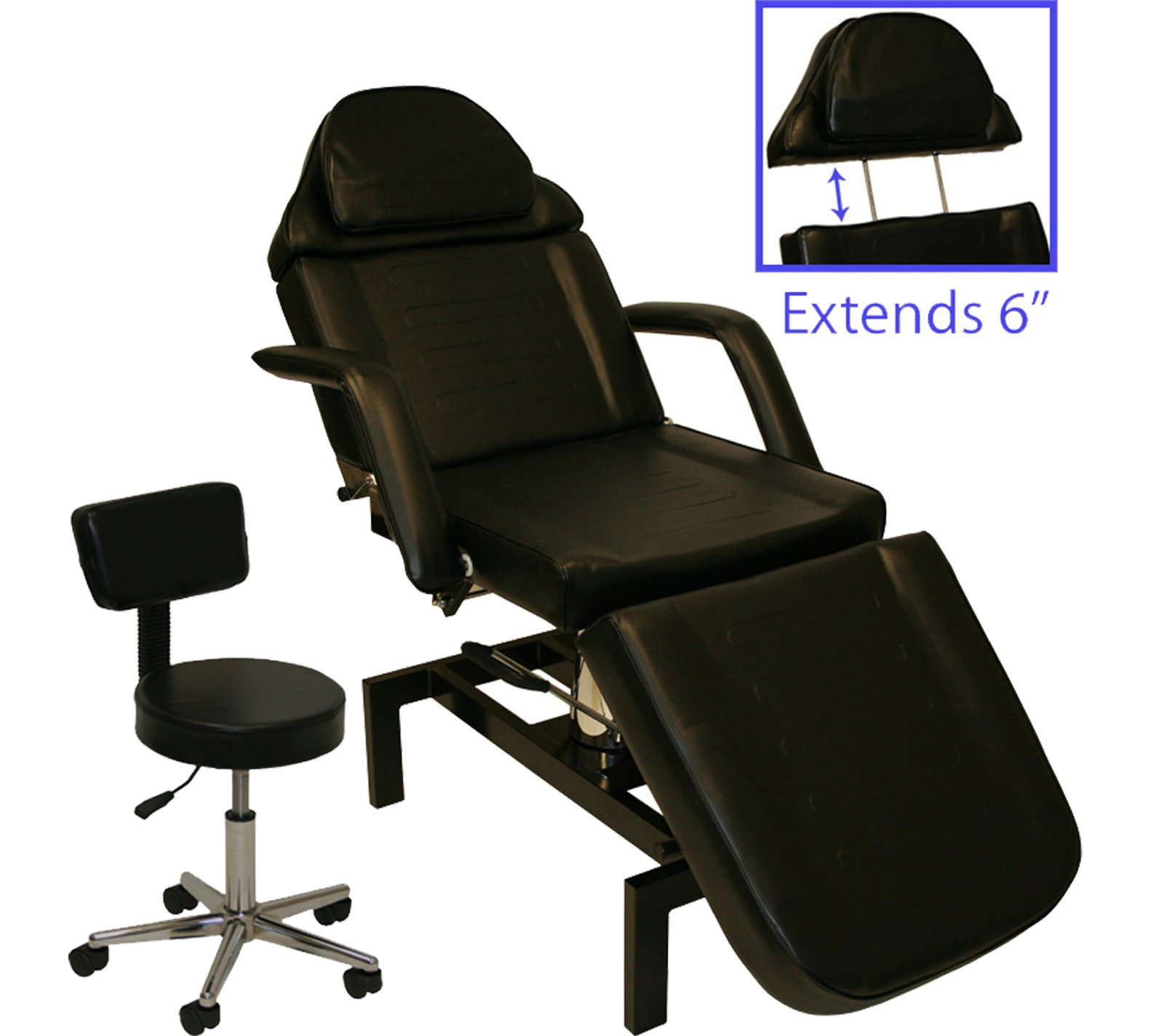 LCL Beauty Hydraulic Lift Adjustable Facial & Tattoo Bed with FREE Matching Technician Stool