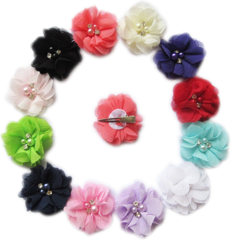Flower Rhinestone Color Hair Clip Barrette LIN