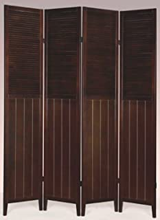 Wood Shutter Door 4-Panel Room Divider WHITE /ESPRESSO (ESPRESSO) & Amazon.com: Shutter Door 3-Panel Room Divider: Kitchen u0026 Dining pezcame.com