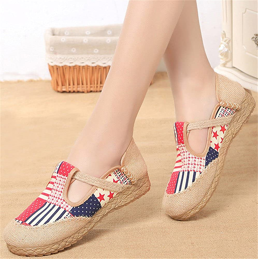 SATUKI Embroidered Shoes for Women Chinese Style Handmade Casual Loafer Flat Dress Shoes