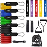 Whatafit Resistance Bands Set (16pcs), Exercise Bands with Door Anchor, Handles, Carry Bag, Legs Ankle Straps for…