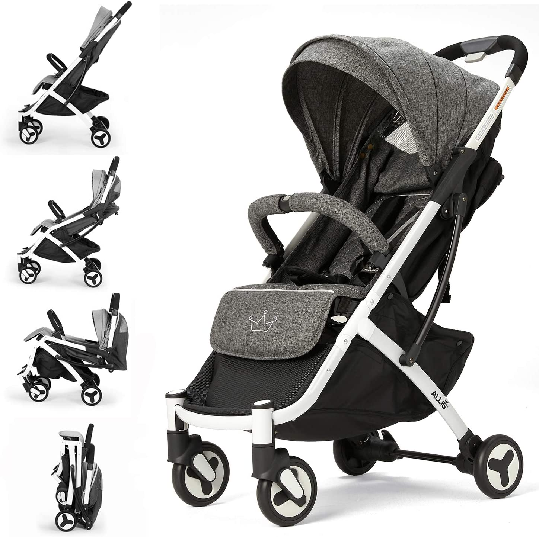 Allis Lightweight Stroller Baby Pushchair Buggy Travel Pram Plume Charcoal