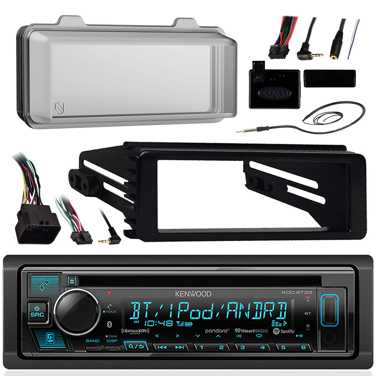 Kenwood Bluetooth Radio USB AUX CD Player Receiver w/ Cover - Bundle with Install Dash Kit, Handle Bar Control, Enrock Antenna for 98- 2013 Harley Touring FLHT FLHX FLHTC Motorcycle Bike by Enrock Motorcycle Bundle