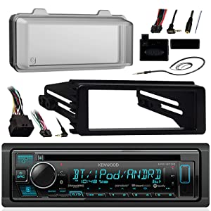 Kenwood Bluetooth Radio USB AUX CD Player Receiver w/ Cover - Bundle with Install Dash Kit, Handle Bar Control, Enrock Antenna for 98- 2013 Harley Touring FLHT FLHX FLHTC Motorcycle Bike