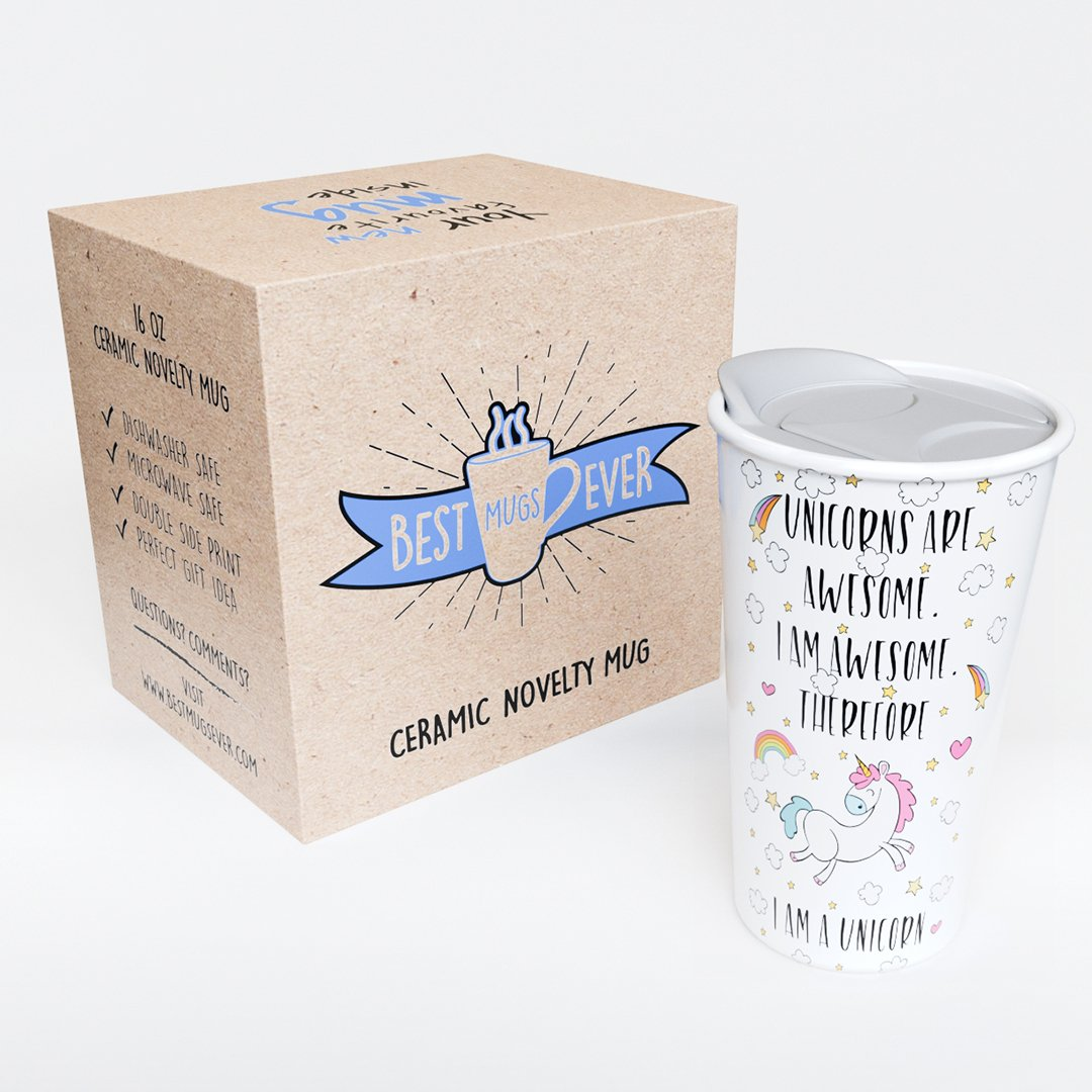 Ceramic Travel Coffee Mug with Lid (12 oz) - Unicorns Are Awesome - I am Awesome - Therefore I Am A Unicorn - Funny Coffee Mug - Double Wall Ceramic - BPA-Free Lid - Dishwasher Safe. 5.6''x 3.5'' by Comfify (Image #2)