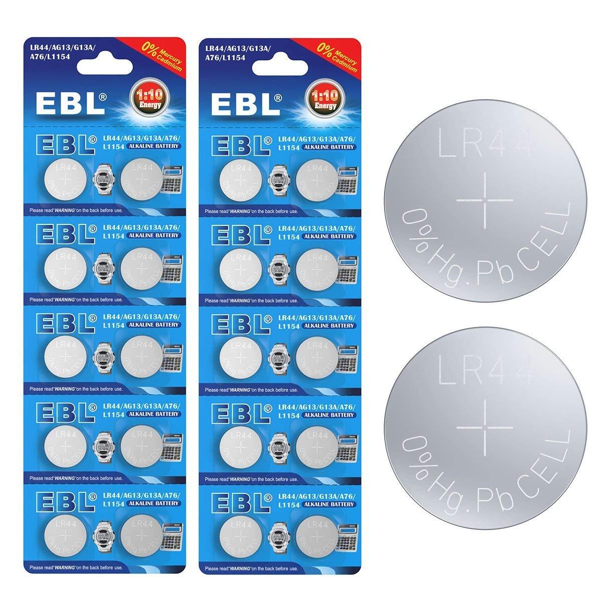 EBL AG13 Piles Bouton Longue Durée de Conservation AG13*10 lot de 2