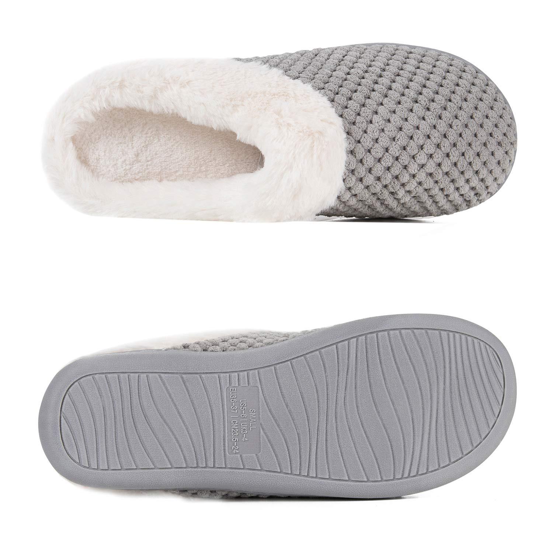 Hiver Pantoufles Femmes en Mousse M/émoire Confort Laine-Peluche Maison Int/érieur Mignon Mules Chaussons Anti-Slip Chaud Souple House Chaussures pour Dames Indoor Outdoor