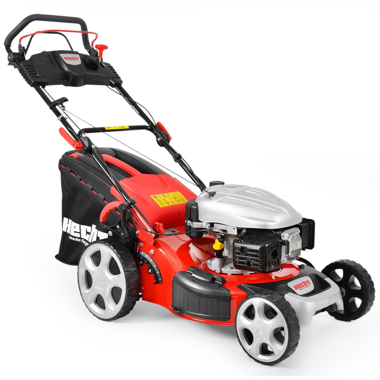 HECHT Benzin-Rasenmäher 548 SW Benzin-Mäher (5 PS Motorleistung, 46 cm Schnittbreite, 7-fache Schnitthöhenverstellung 25-75 mm, 60 L Fangsack)