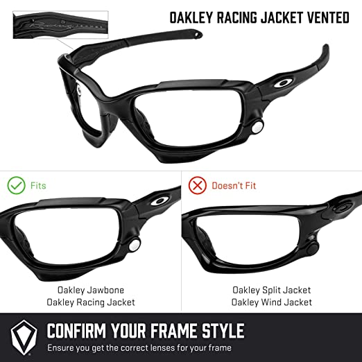 6dbfd045a39 Revant Polarized Replacement Lenses for Oakley Racing Jacket Vented Black  Chrome MirrorShield®  Amazon.co.uk  Clothing
