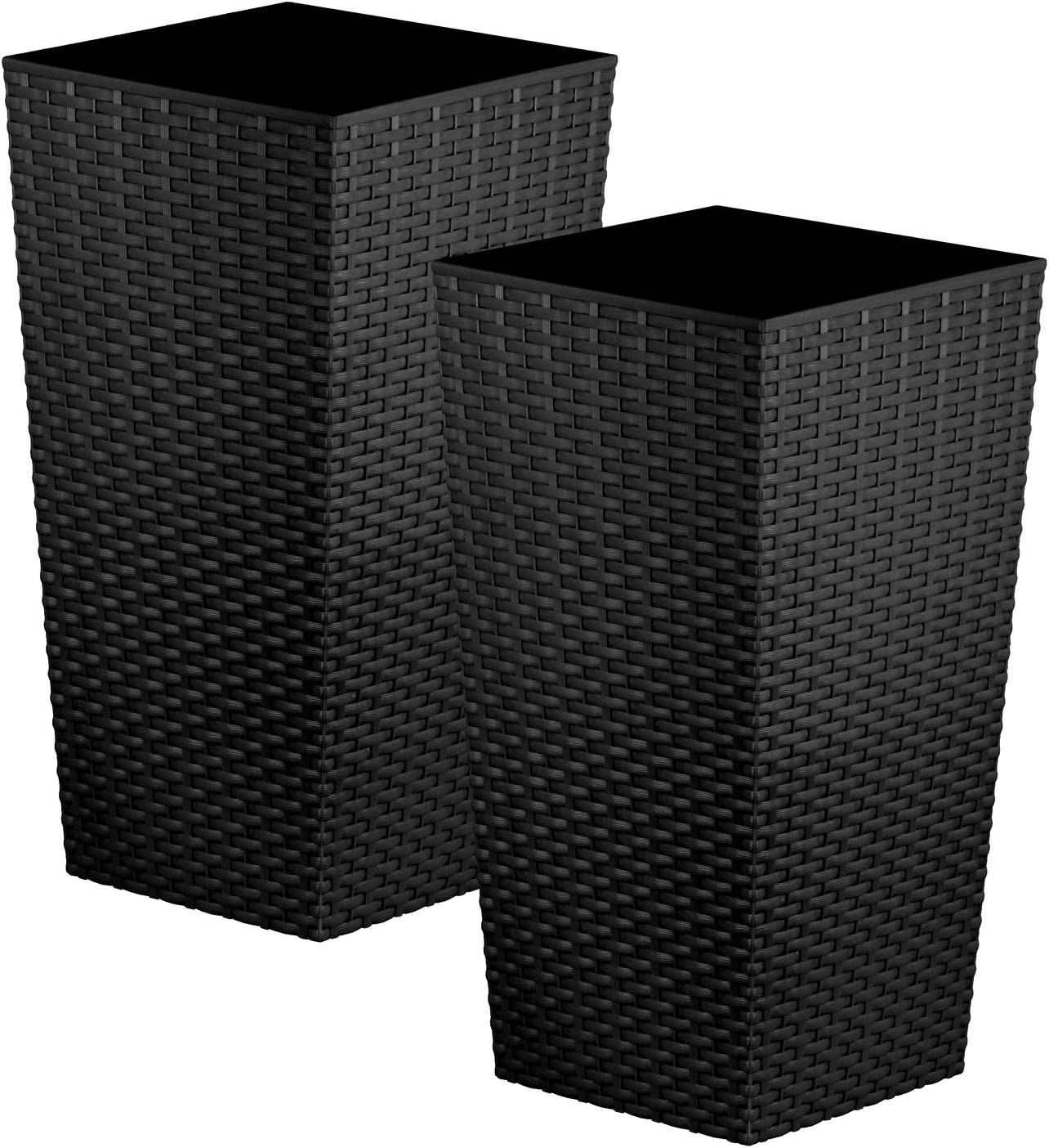 Macetas de tamaño grande, de la marca CrazyGadget, 2 unidades, plástico, negro, 26.6L