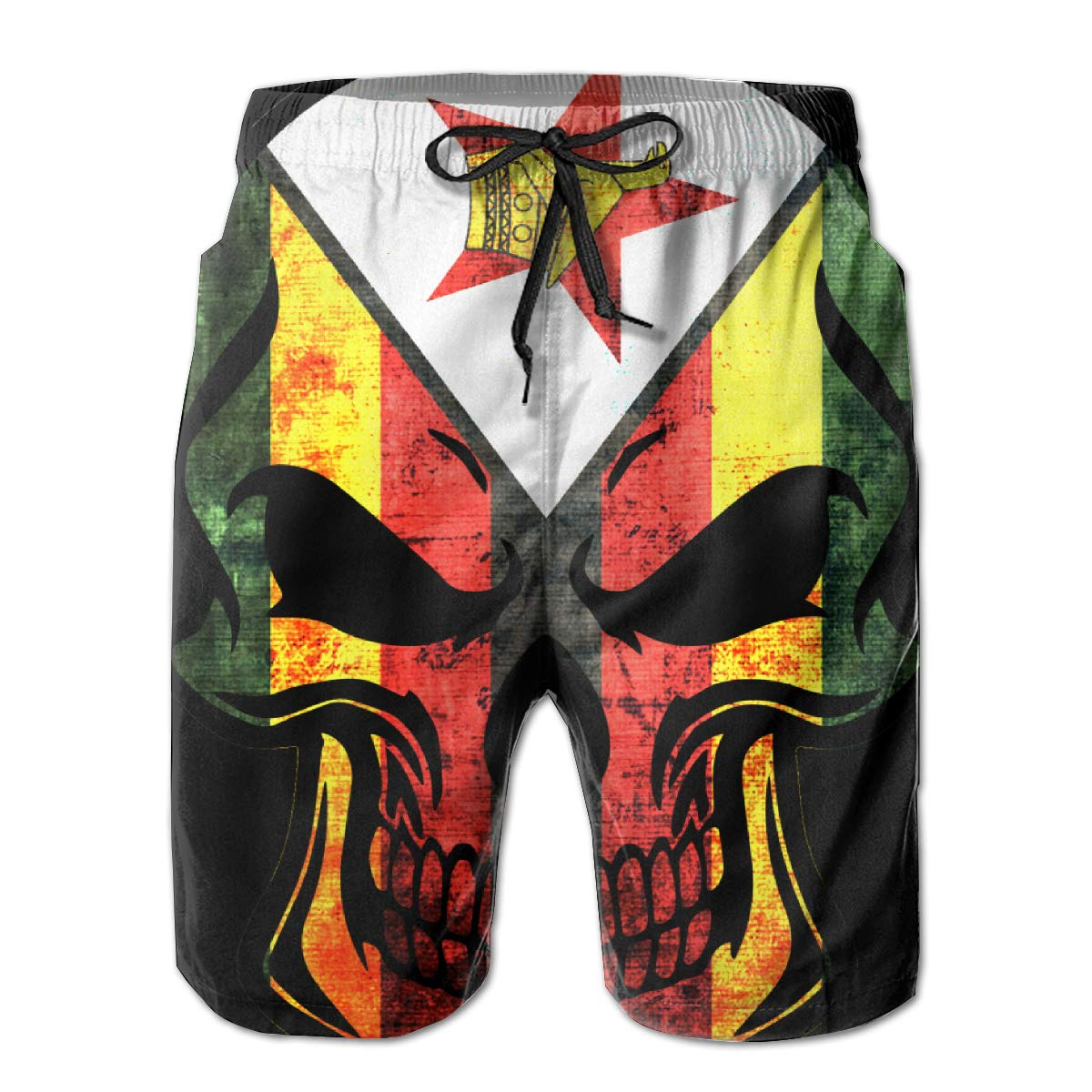 TBVS 79 Zimbabwe Flag Skull Mens Slim Fit Board Shorts with Mesh Lining