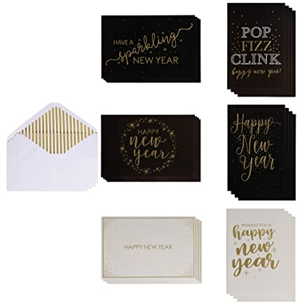 36 pack new year cards happy new year greeting cards in 6 gold foil
