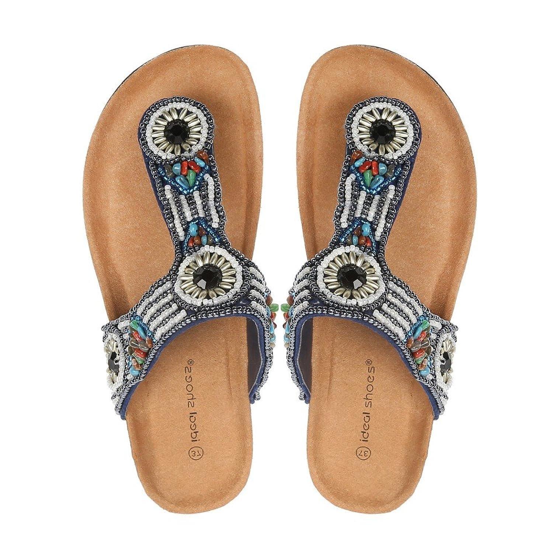 Ideal Shoes nu-pieds con tracolla Incrustes di perle arabesco maellys, Blu  (blu), Fr 41: Amazon.it: Scarpe e borse