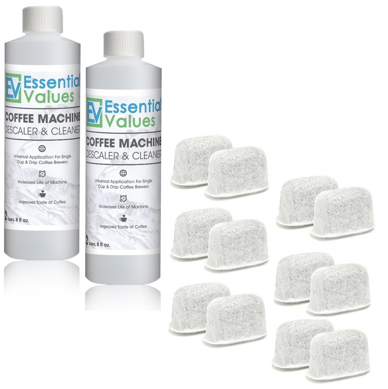 Essential Values Universal Descaling Solution (2 Pack, 4 Uses Total + 12 Fitlers), Designed For Keurig, Nespresso, Delonghi and All Single Use Coffee and Espresso Machines - Proudly Made In USA