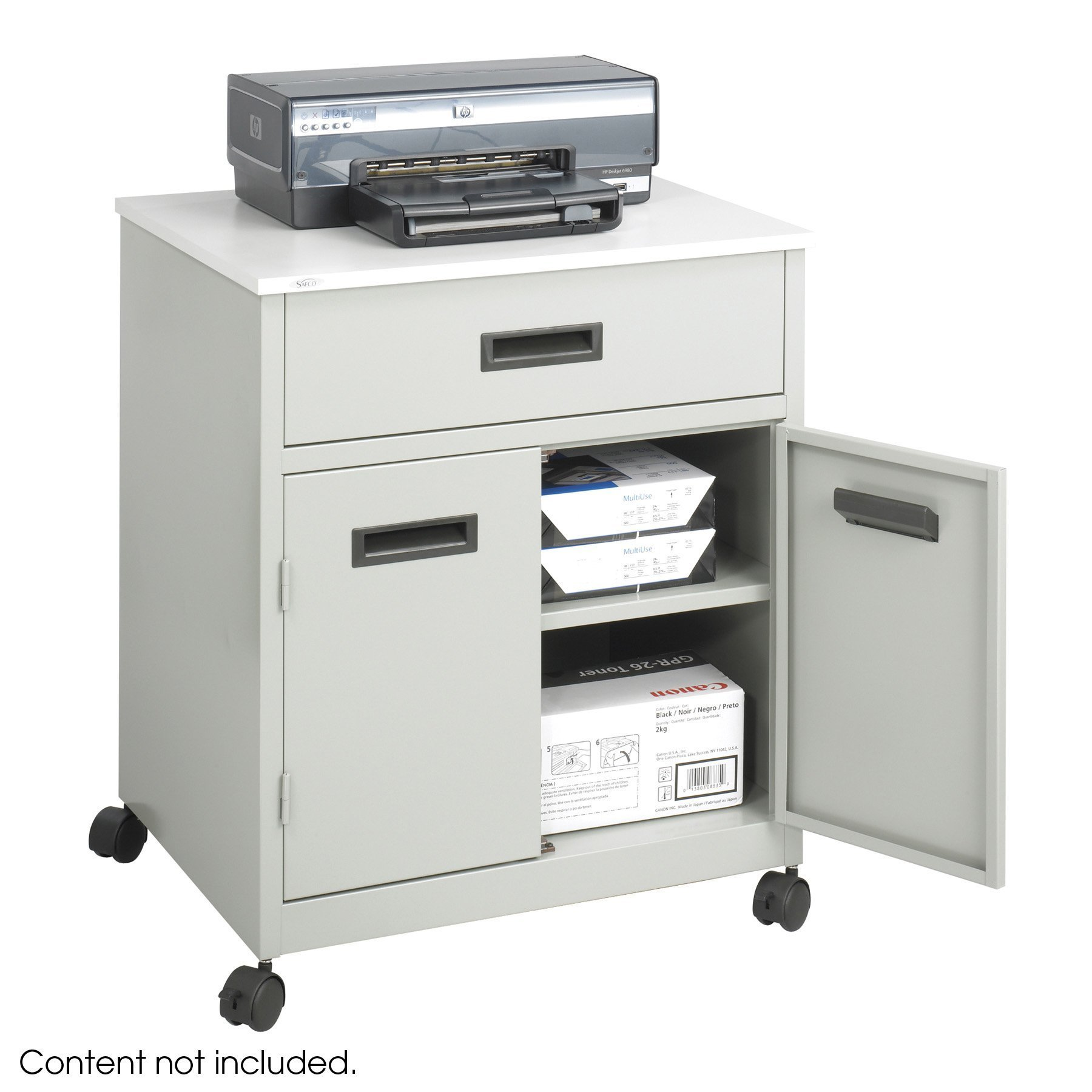 Safco Products Steel Machine Stand with Double Doors and Drawer, Gray by Safco Products