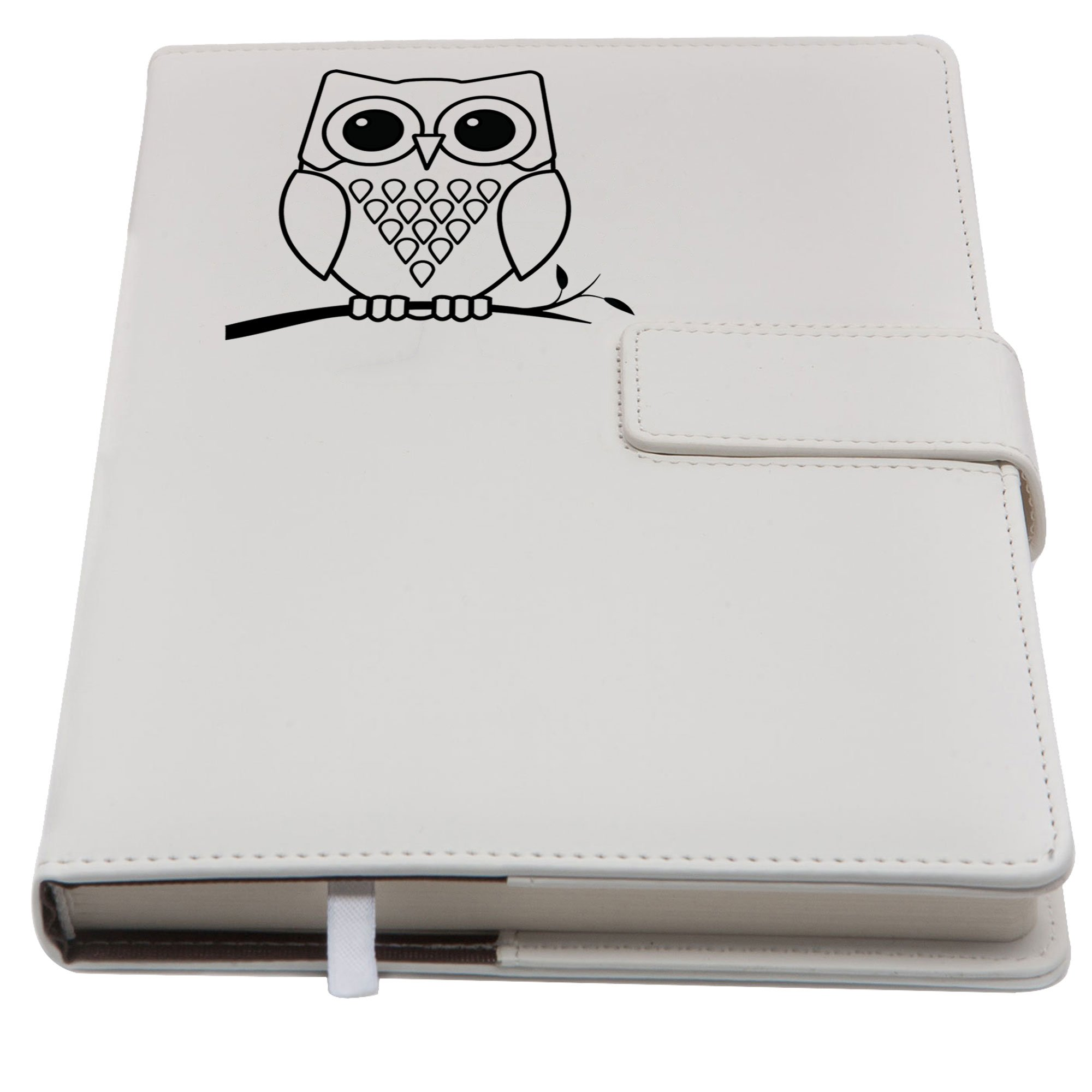 The Owl Refillable Writing Journal | Faux Leather Cover, Magnetic Clasp + Pen Loop | Blank Notebook | 200 Lined Pages, 5 x 8 Inches for Travel, Personal, Poetry | White | The Amazing Office