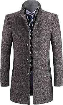 ウィンターウールシックコート、メンズグレーカジュアルウール60%ジャケット、ビジネスカジュアルトレンチ