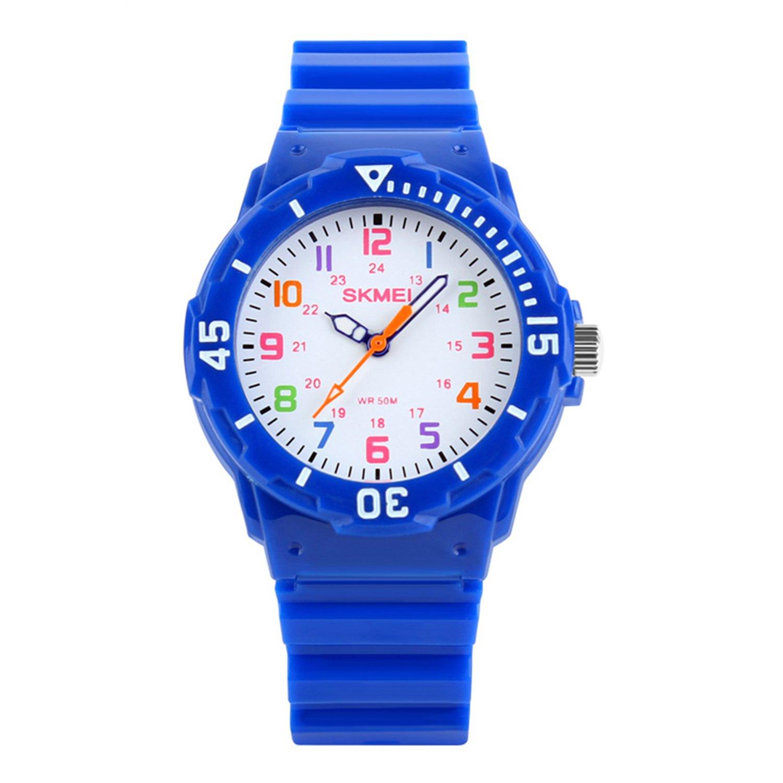 Kids 50M Waterproof Watch,Boys Kids Time Teacher Watches with PU Band Children Analog Quartz Wristwatch (Navy Blue)