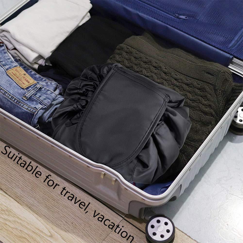 Bolsa de Cosm/éticos,BETOY Bolsa de Maquillaje Perezoso Bolsa de Maquillaje Negro Organizador de Un Solo Paso Bolso de Lazo Perezoso Gran Capacidad Adecuado Para Viajes Vacaciones
