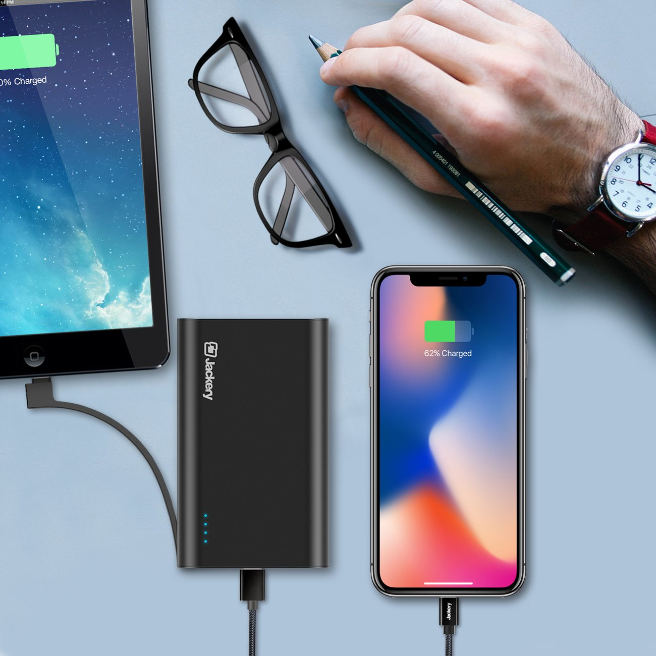 Jackery Bolt 10050mAh Power Bank, Portable Charger with Built-in [MFi certified] Lightning Cable External Battery Pack for iPhone X, iPhone 8/8Plus etc, TWICE as FAST as Original iPhone Charger by Jackery (Image #6)