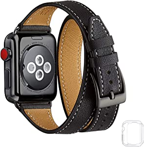 Bestig Band Compatible for Apple Watch 38mm 40mm 42mm 44mm, Genuine Leather Double Tour Designed Slim Replacement iwatch Strap for iWatch Series 6 SE 5 4 3 2 1(Black Band+Black Adapter, 38mm 40mm)