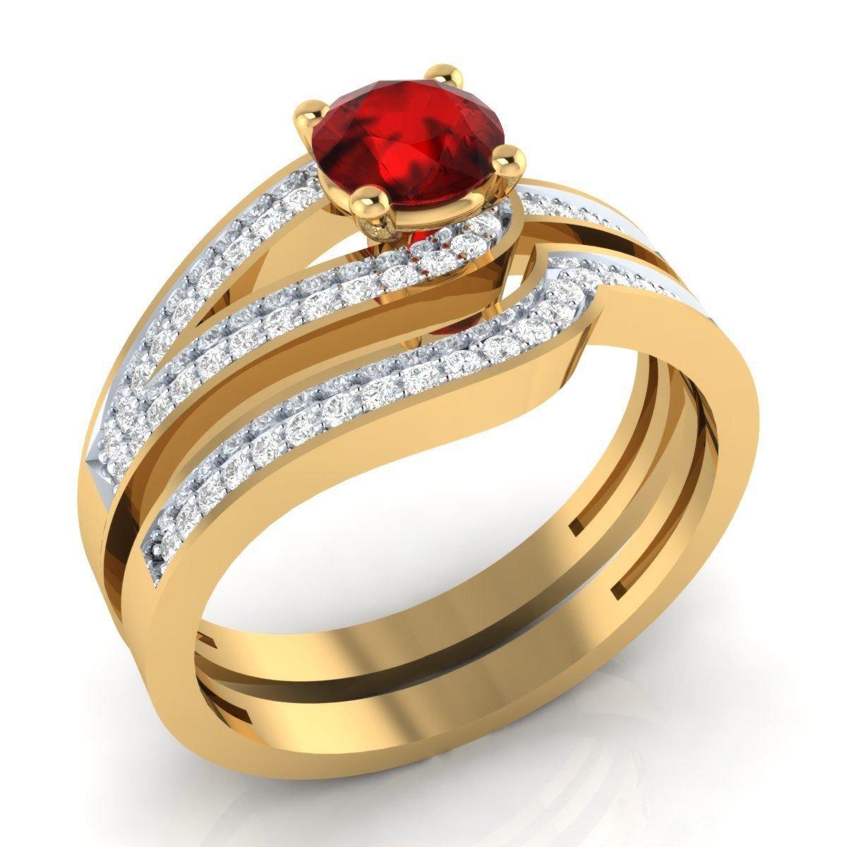 Amazon Awesome 102 Cttw Round Created Red Ruby White Cz Diamond Curved Wedding Band Engagement Bridal Ring Set 18k Yellow Gold Plated Jewelry: Ruby Wedding Ring Set 18k At Reisefeber.org