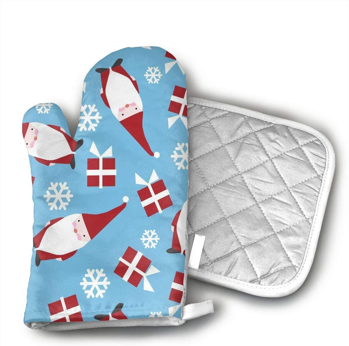 Christmas Holiday Danish Oven Mitts and Pot Holders Set with Polyester Cotton Non-Slip Grip, Heat Resistant, Oven Gloves for BBQ Cooking Baking, Grilling