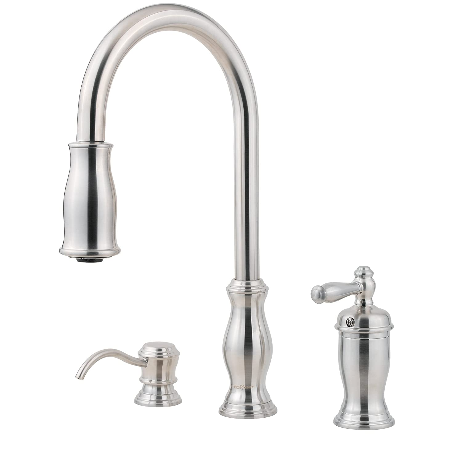Pfister GT526TMS Hanover Separate 1-Handle Pull-Down Kitchen Faucet with Soap Dispenser in Stainless Steel