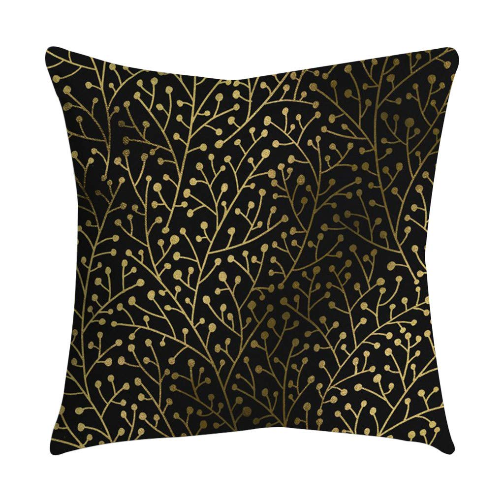 Rose Black Gold Cushion Cover Pgojuni Square Pillowcase Cushion Cover Square Pillowcase Home Pillow Cases Cushion Cover Pillow Cover 1pc 45cmx45cm (A)