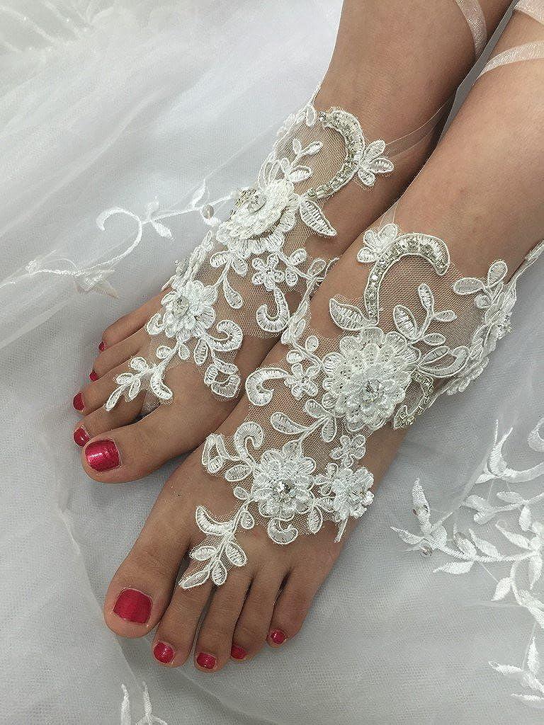 Destination Wedding Anklets Love Millie Lace Design Handmade Barefoot Sandals