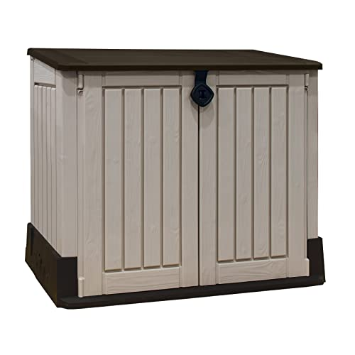 Keter Store It Out Midi Outdoor Plastic Garden Storage Shed, Beige And  Brown,