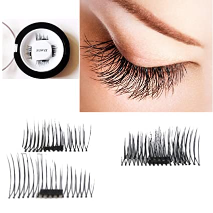 ba58828e32a Image Unavailable. Image not available for. Color: Auwer New Ultra-thin  0.4mm Magnetic Eye Lashes 3D Fiber Reusable False Magnet Eyelashes