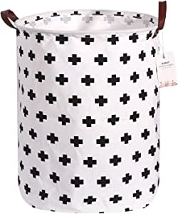 Laundry Hamper for Girls Room, Extra Large Plastic Storage Bins Stackable, Collapsible Round Storage Bin Clothes Laundry Hamper, Storage Bins for Kids Toys, Decorative Storage Bins and Baskets(Cross)