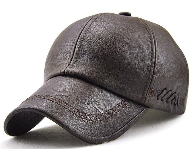 Roffatide Men s Embroidered Soft PU Leather Straps Dad Hat Baseball Cap  Strapback Autumn and Winter Dark 63c27703bb1