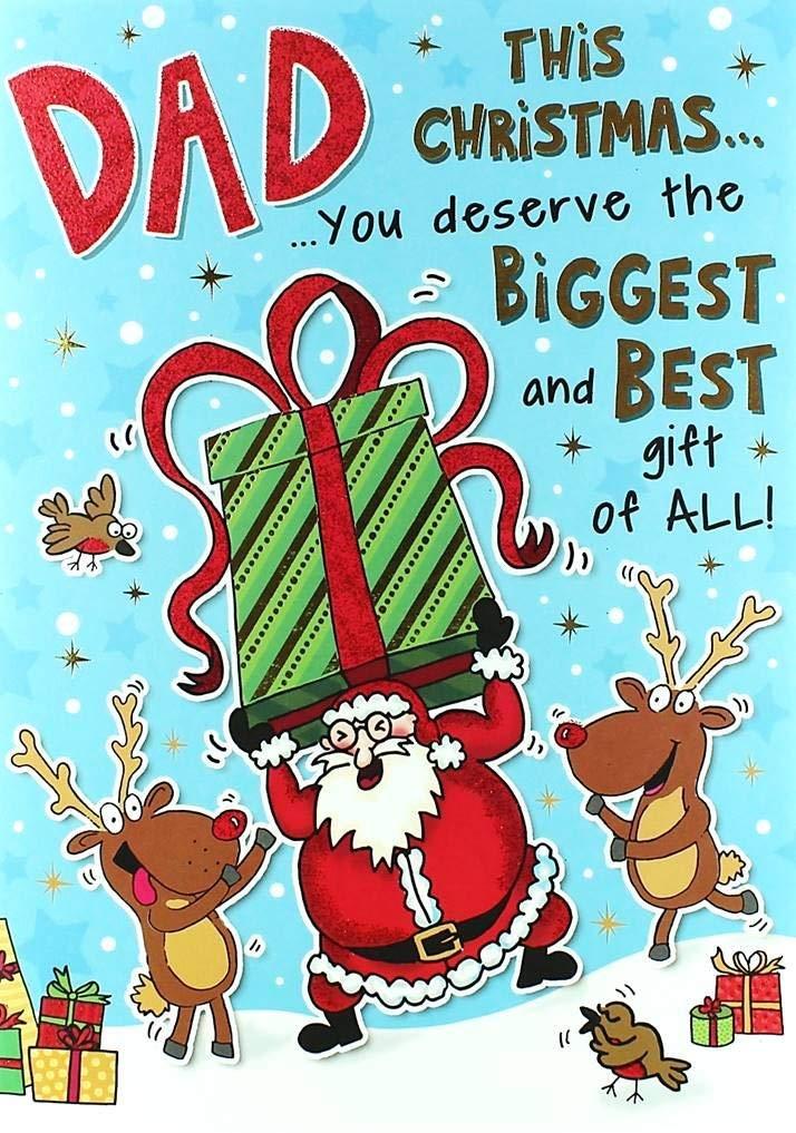 Dad Tarjeta de Navidad - de Papá Noel, reno, Robin y gigante ...