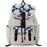 Douguyan Women Floral Print Casual Canvas Backpack Rucksack Cute School Backpack