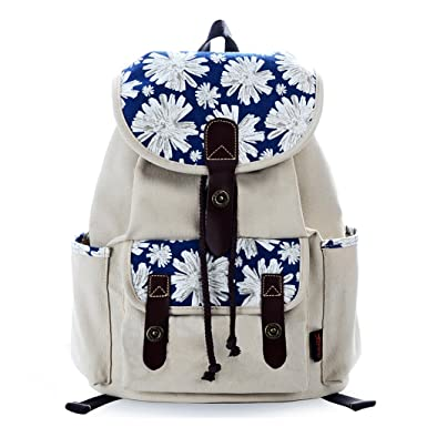 eed26baed Amazon.com: Douguyan Women Floral Print Casual Canvas Backpack Rucksack  Classical School Backpacks Beige 137: Clothing