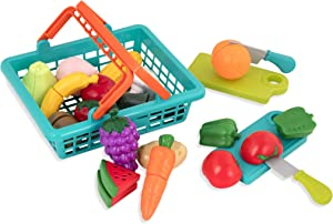 Battat – Farmers Market Basket – Toy Kitchen Accessories – Pretend Cutting Play Food Set for Toddlers 3 Years + (37-Pcs)