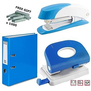 Juego de grapadora + perforadora + 5 archivadores de palanca + grapas, color L. Blue: Amazon.es: Oficina y papelería