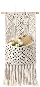 "Mkono Macrame Magazine Storage Organizer Mail Holder Wall Mount Cotton Wovening Hanging Pocket Boho Home Decor Ivory, 13"" W × 29"" L"