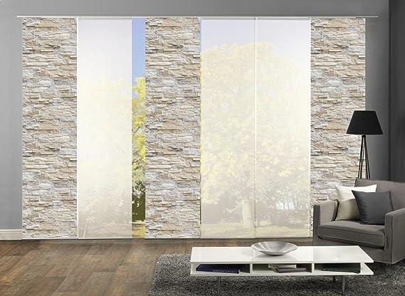 Home Fashion 96149 | 6er-Set Schiebegardinen WALLI | blickdichter Dekostoff & transparenter Halborganza | 6X jeweils 245x60 c