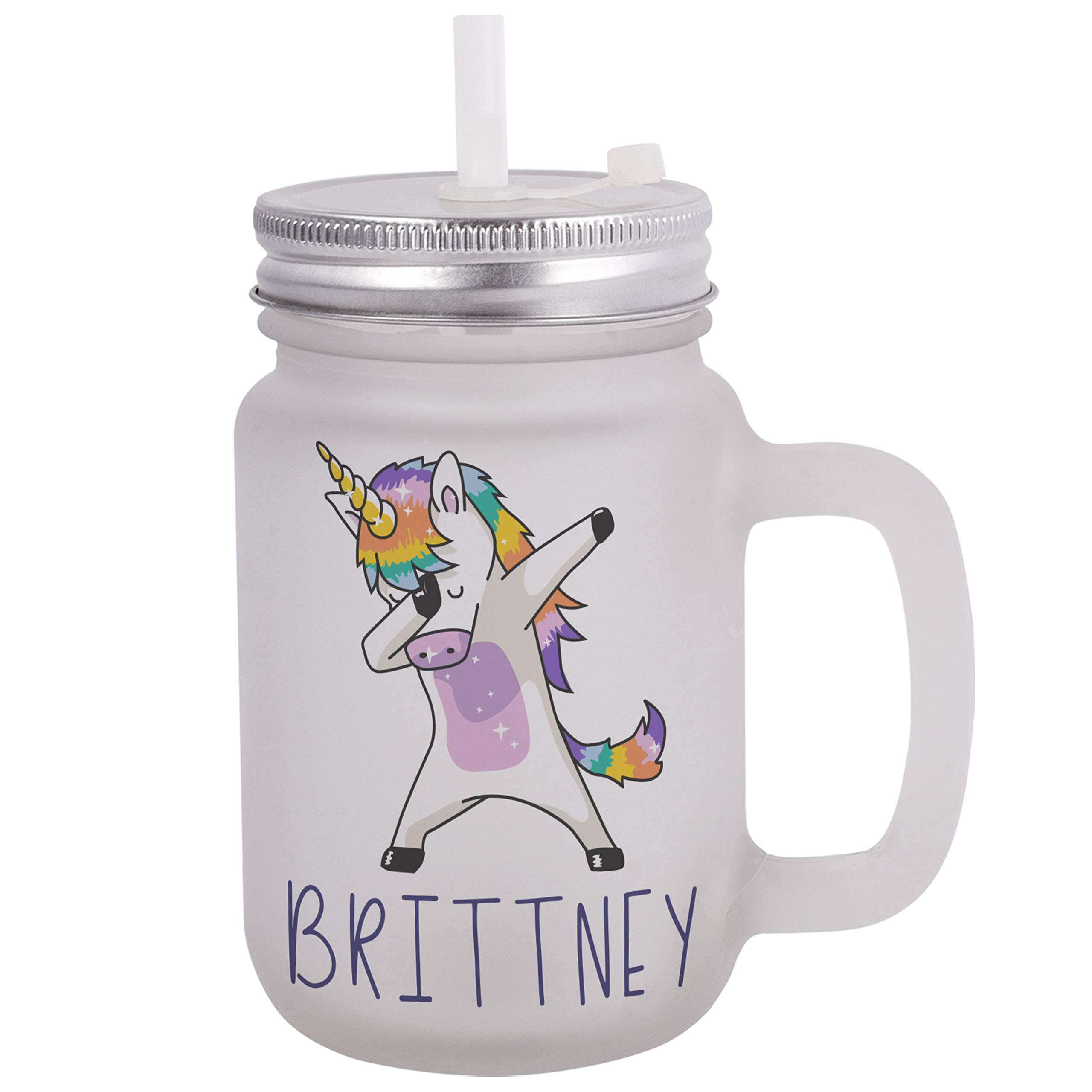 Personalized Gifts Dabbing Unicorn Coffee Mug - 12oz Frosted Mason Jar Coffee Mug with Lid and Straw -Birthday Gifts, Christmas Gifts, Mother's Day Gifts, Father's Day Gifts, Funny Mug for Kids by USA Custom Gifts (Image #1)