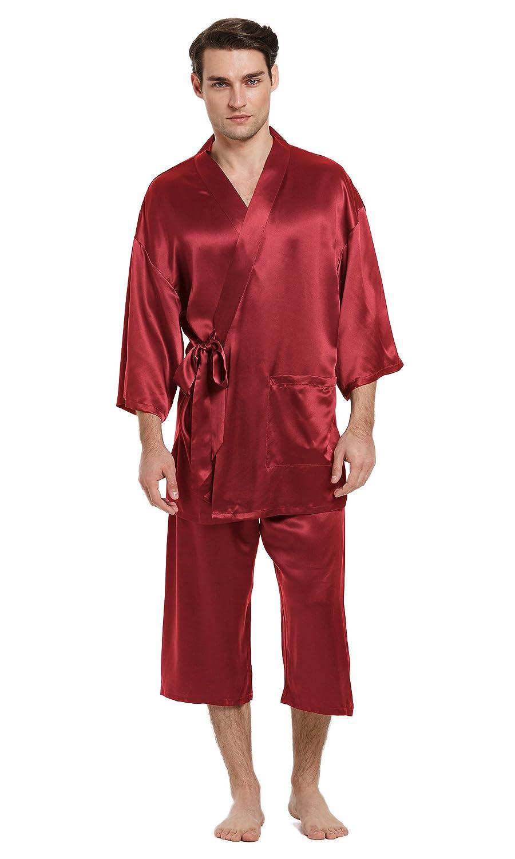 be007ac3ad0a LilySilk Silk Pajamas for Men 100 Pure Mulberry 22mm Traditional Kimono Robe  Style Japanese Luxury Sleepwear
