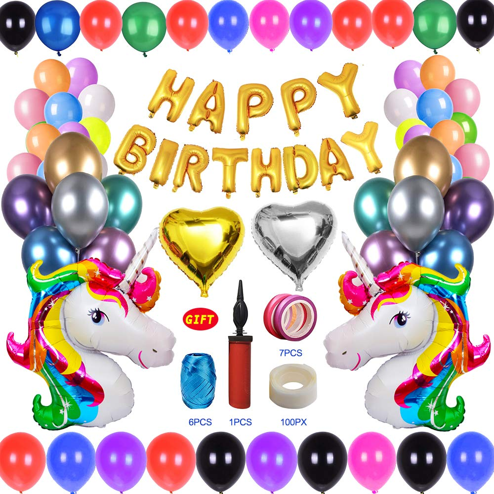 130 Pieces Birthday Party Decoration Supplies Set:Happy Birthday Banner,2 Unicorn Balloons(40'),2 Heart Balloons,100 Latex Balloons&1 Balloon Pump,100 Counts Balloon Tape,13 Color Satin Ribbon