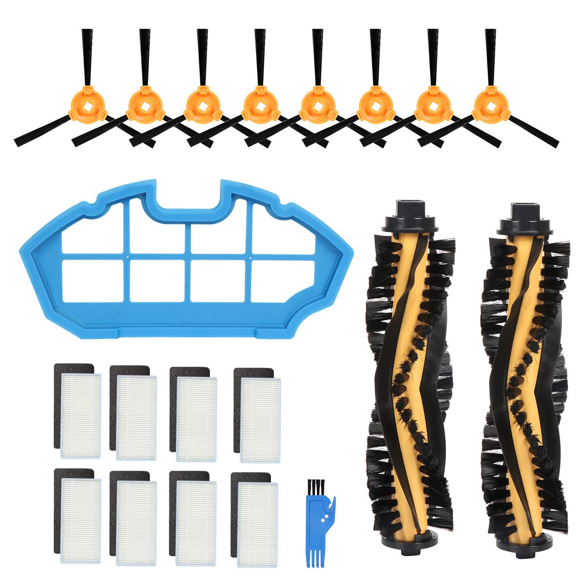 Wigbow Accessory Kit for DEEBOT N79S & N79 Robotic Vacuum Cleaner - 2 Main Brush +1 Filter+ 8 Filters + 8 Side Brushes