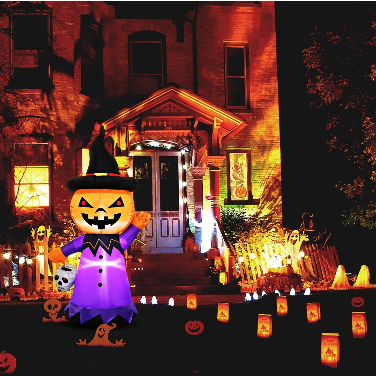 Halloween Inflatables, 5 FT Halloween Inflatable Pumpkin with White LED Lights for Outdoor Party Holiday Halloween Decoration