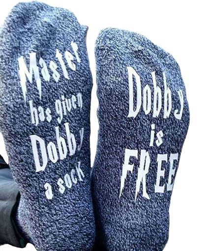 HYDZ: Calcetines de algodón Peinado para Tejer con Texto en inglés Dobby is Freee,