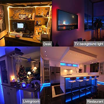 Walfront Tiras LED de luz de fondo para ordenador RGB, tiras de ...
